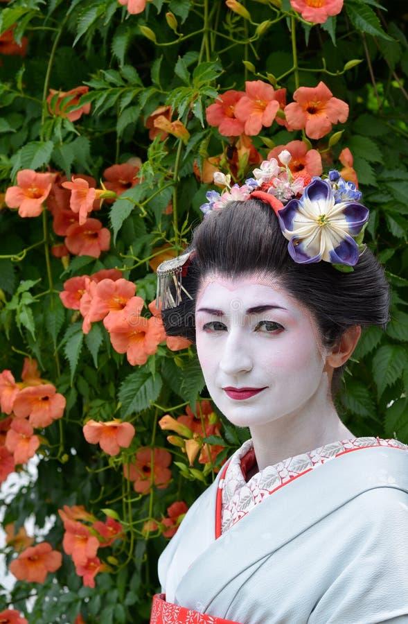 O retrato de Maiko, fim acima, Kyoto, Japão imagem de stock