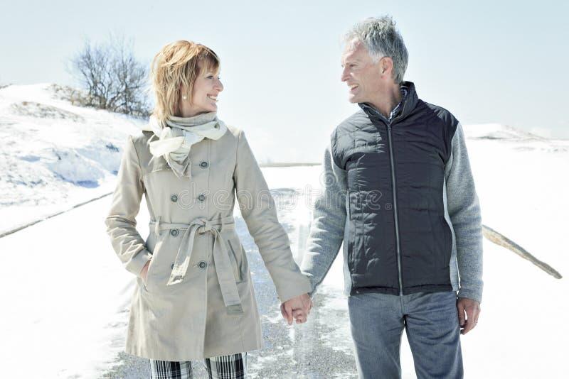 O retrato de pares superiores felizes no inverno tempera fotos de stock royalty free