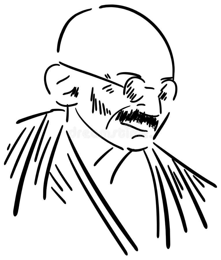 O retrato de Stlized de Mahatma Gandhi isolou-se ilustração stock