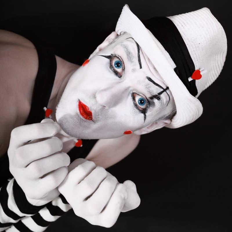 O retrato de um ator do teatro com mimica a composição imagens de stock royalty free