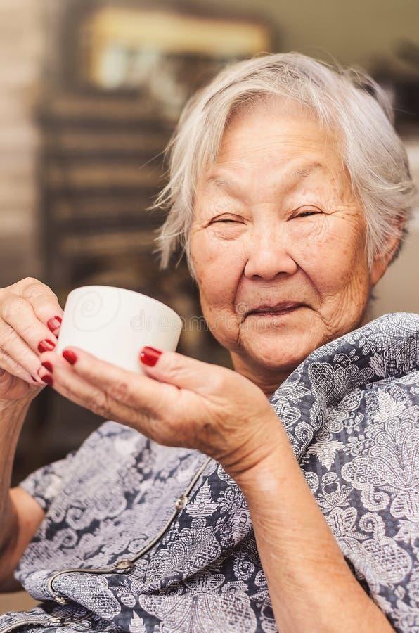 O retrato de um descendente japonês feliz da senhora idosa assentou o comfor fotografia de stock