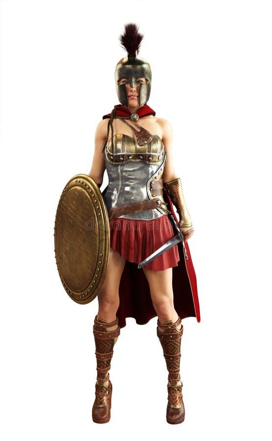 O retrato de um guerreiro fêmea espartano grego equipado para a batalha com uma espada e um protetor em um branco isolou o fundo ilustração do vetor