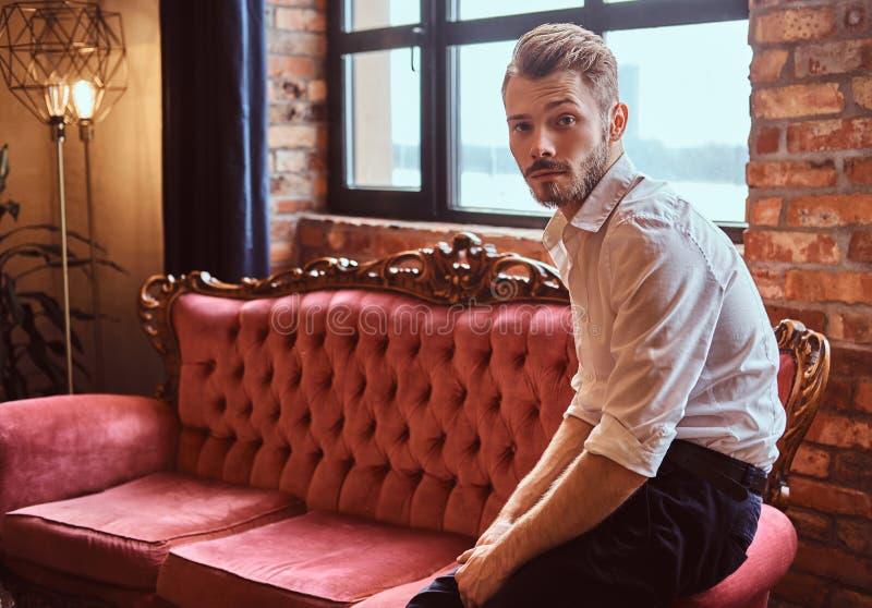 O retrato de um homem novo considerável com uma barba e um cabelo à moda vestiu elegantemente o assento em um sofá vermelho do vi foto de stock