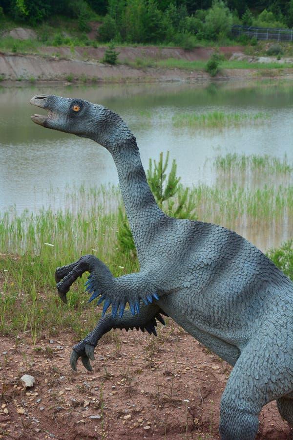 O retrato de uma das reconstruções de répteis Mesozoic fotografia de stock