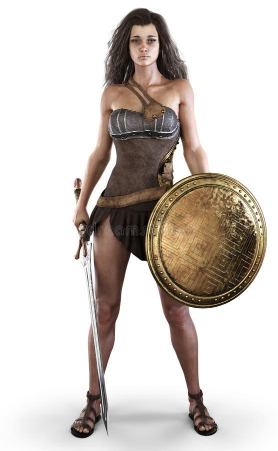 O retrato de uma f?mea 'sexy' de amazon levantou com uma espada e um protetor em um fundo branco isolado ilustração royalty free