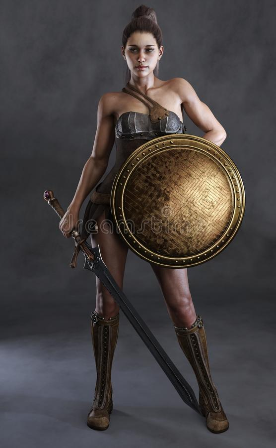 O retrato de uma fêmea 'sexy' de amazon levantou com uma espada, o protetor e um fundo do estúdio ilustração royalty free