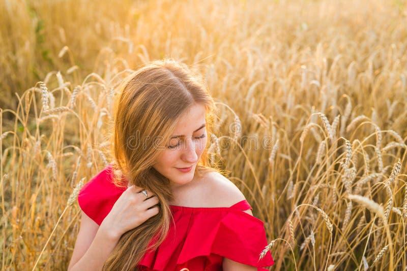 O retrato de uma jovem mulher no vestido vermelho em um fundo da aveia dourada coloca, verão fora foto de stock royalty free