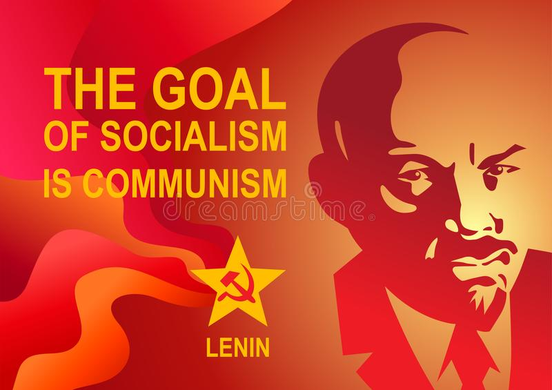 O retrato de Vladimir Lenin e de rotular o objetivo do socialismo é comunismo Estilo soviético estilizado do cartaz Líder da URSS ilustração royalty free