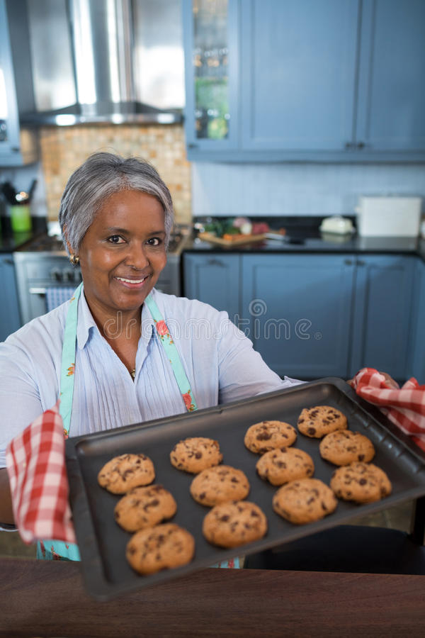 O retrato do ângulo alto da exibição da mulher cozeu cookies imagens de stock