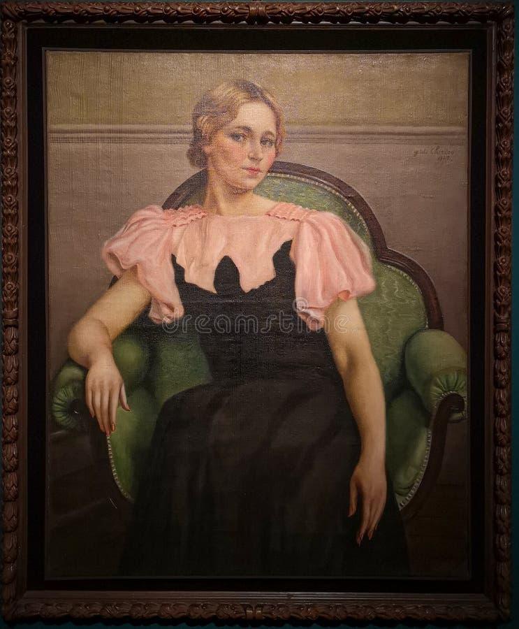 O retrato do AIA vestiu-se no rosa e no preto, pintando por Giorgio de Chirico fotografia de stock royalty free