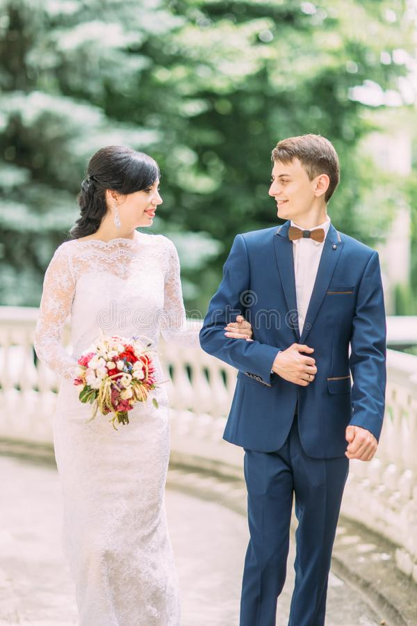 O retrato do busto da noiva que guarda o noivo pelo braço e que olha se imagem de stock