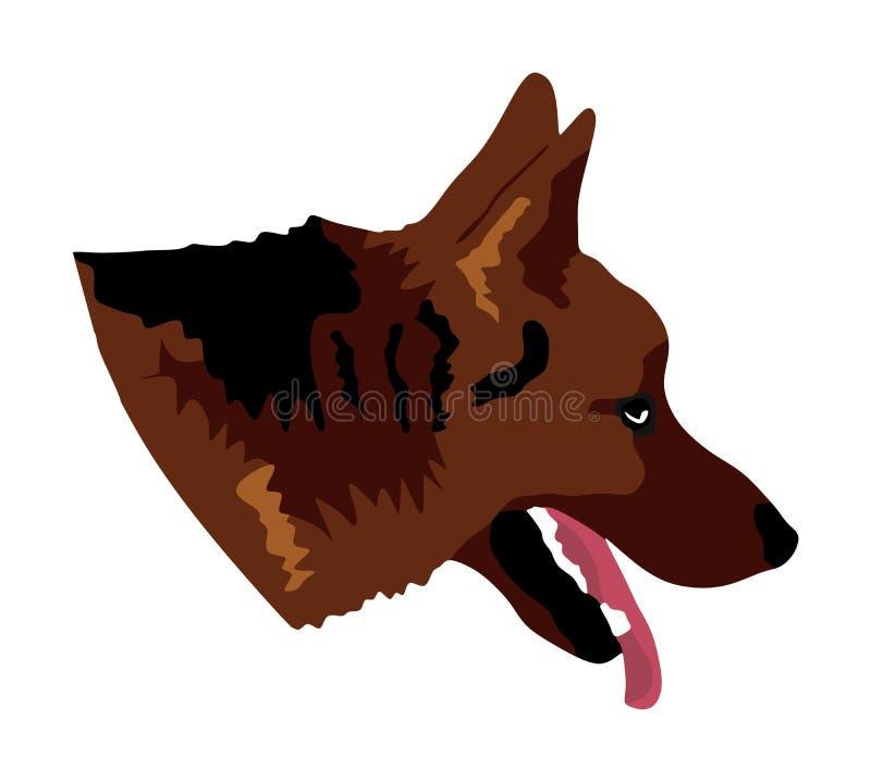 O retrato do cão-pastor alemão teve a ilustração do vetor isolada Beware do c?o ilustração do vetor