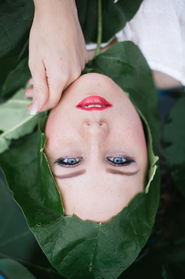 O retrato do close up de uma mulher bonita nova com natural compõe fotografia de stock royalty free