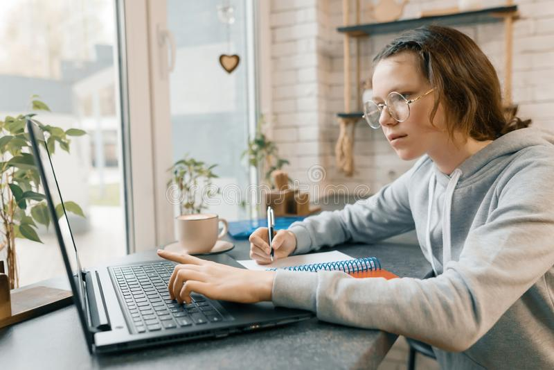 O retrato do estudante fêmea novo, da estudante na cafetaria com laptop e da xícara de café, menina está estudando, escrita em n imagens de stock