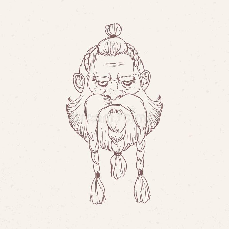 O retrato do guerreiro escandinavo irritado ou o berserker com tranças entregam tirado com esboços no fundo claro Cabeça de ilustração royalty free