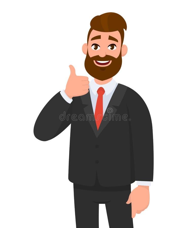 O retrato do homem de negócio entusiasmado vestiu-se no vestuário formal preto que mostra os polegares acima do sinal Negocie, co ilustração do vetor