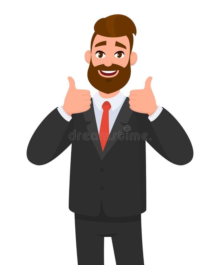 O retrato do homem de negócio entusiasmado vestiu-se no vestuário formal preto que mostra os polegares acima do sinal Negocie, co ilustração stock