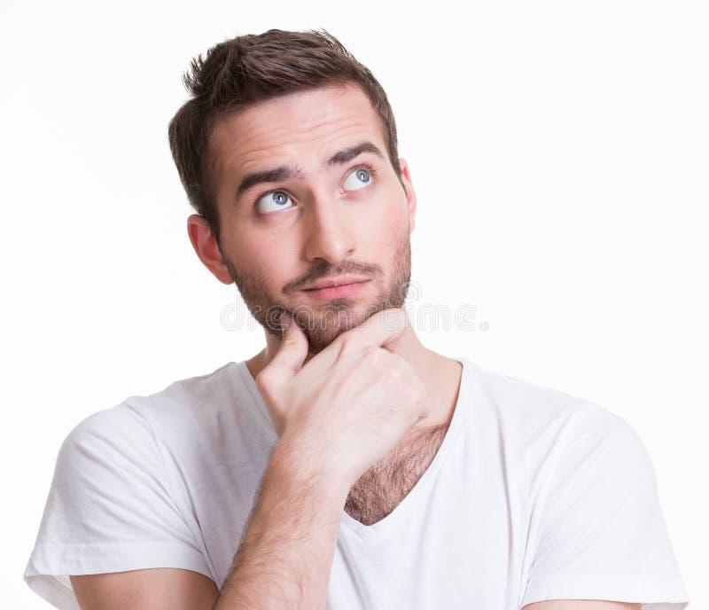 O retrato do homem de pensamento novo olha acima. fotografia de stock royalty free