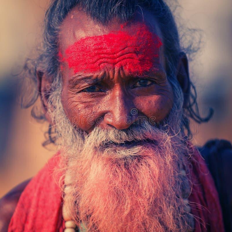 O retrato do homem de Sadhu fotos de stock royalty free