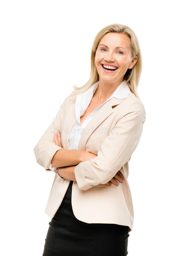 O retrato do meio feliz da mulher de negócio maduro envelheceu o smilin da mulher fotografia de stock royalty free