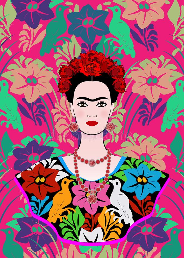 O retrato do vetor de Frida Kahlo, mulher mexicana bonita nova com um penteado tradicional, mexicano crafts a joia e o vestido ilustração do vetor