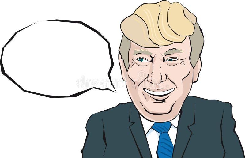 O retrato dos desenhos animados de Donald Trump diz algo ilustração royalty free