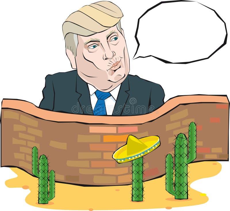 O retrato dos desenhos animados de Donald Trump diz algo na frente de uma parede com México ilustração stock