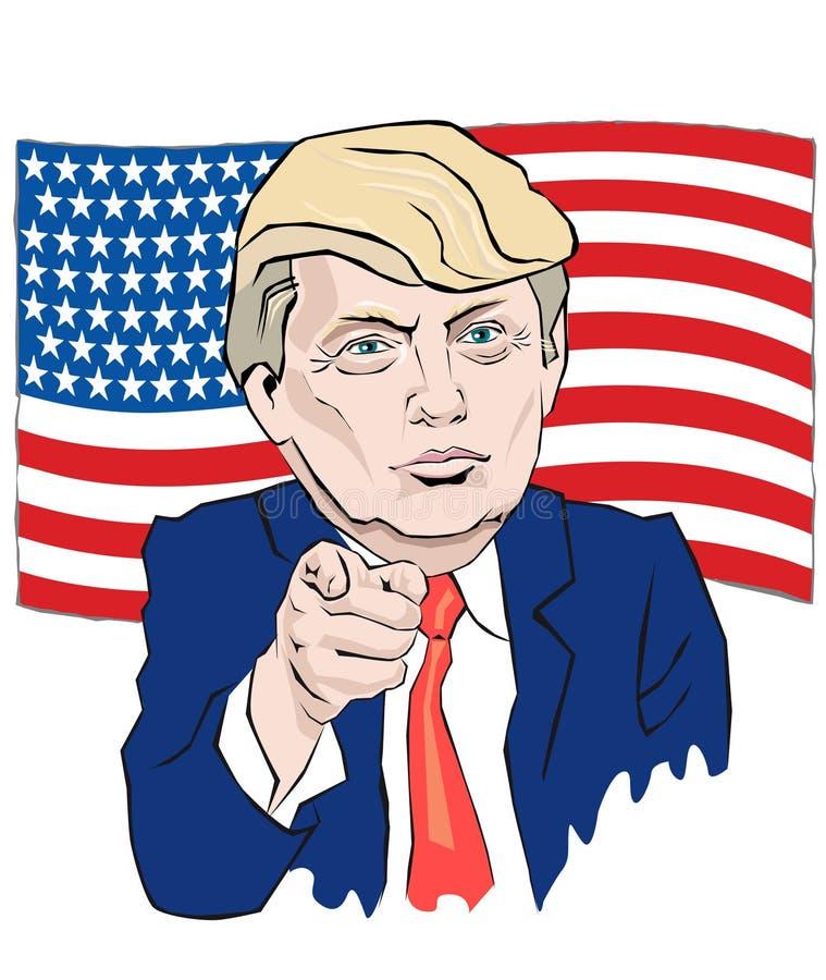 O retrato dos desenhos animados do laço de Donald Trump aponta com seu dedo ilustração stock