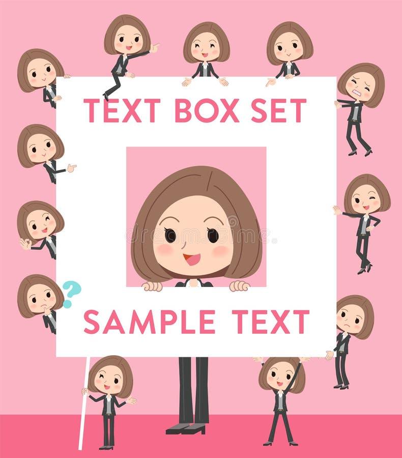O revestimento preto arfa a caixa de texto da mulher de negócio ilustração stock