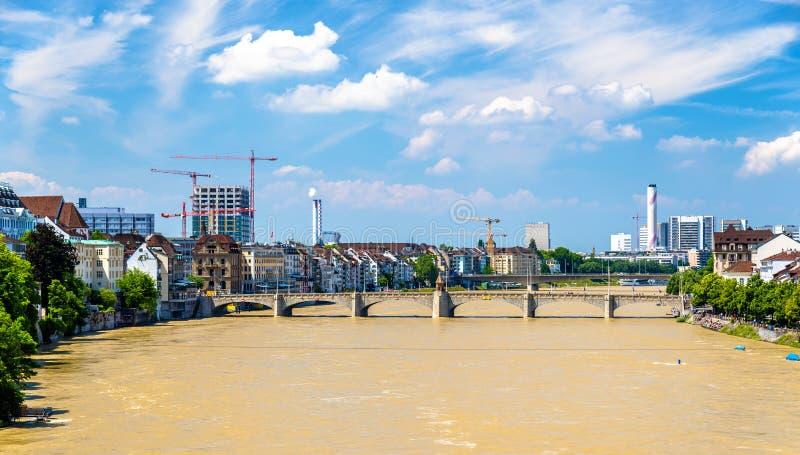 O Rhine River em Basileia, Suíça imagens de stock royalty free