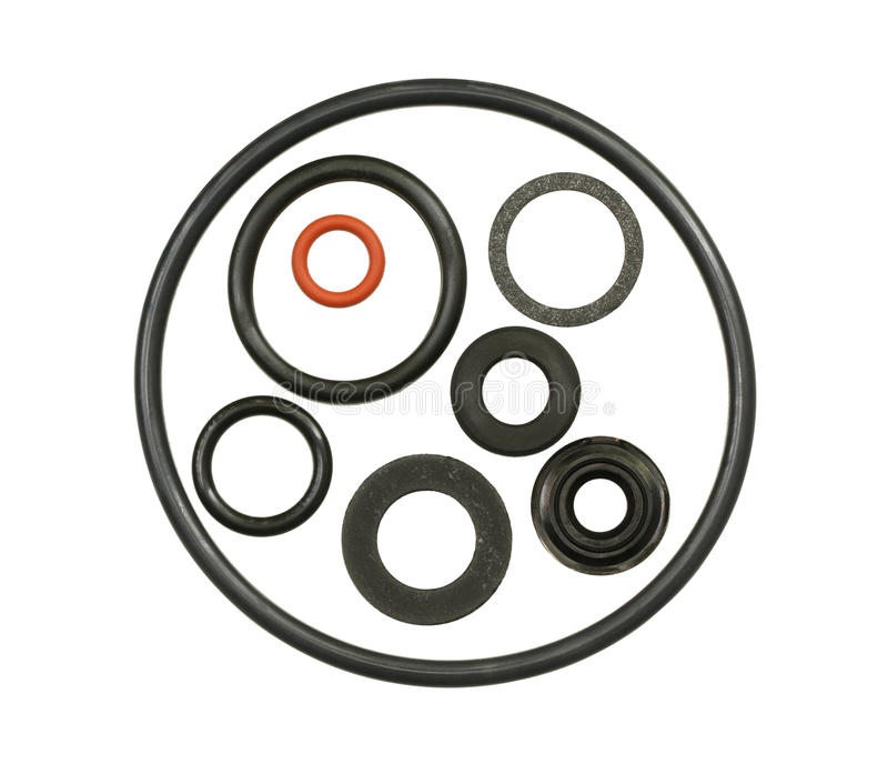 O-ring gasket. Collection isolated on white background royalty free stock photography