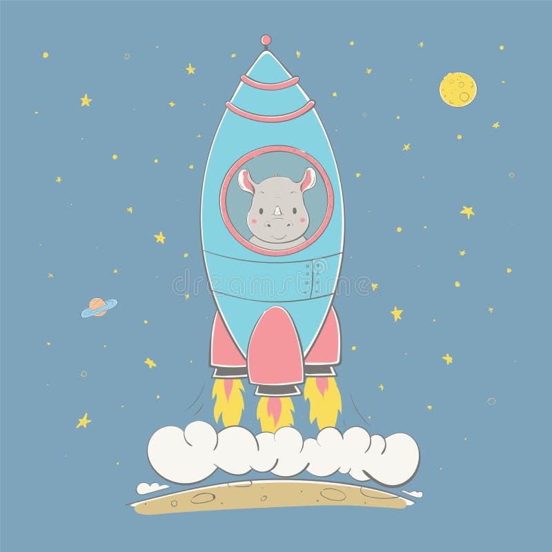 O rinoceronte bonito bonito aumenta no foguete no espaço Série do espaço do cartão das crianças ilustração do vetor