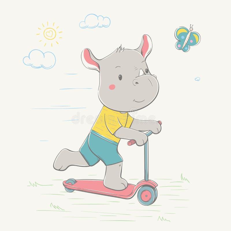 O rinoceronte bonito bonito monta o 'trotinette' para a borboleta Rinoceronte vestido novo Série do verão do cartão das crianças ilustração royalty free