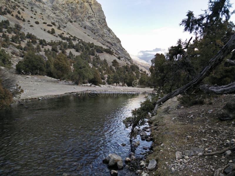 O rio da montanha flui em montanhas de Cazaquistão imagens de stock