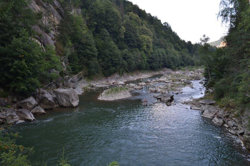 O rio da montanha flui entre montanhas altas fotografia de stock royalty free
