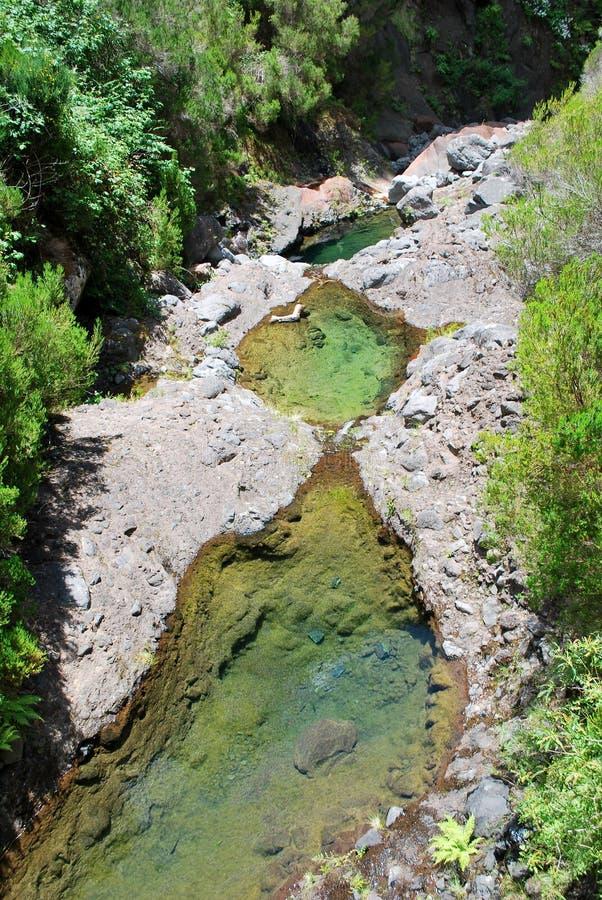 O rio de 25 cachoeiras em Madeira imagem de stock royalty free