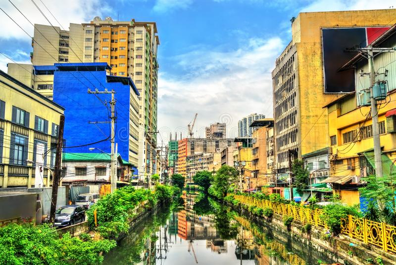 O rio de Estero de Binondo em Manila, as Filipinas imagens de stock royalty free