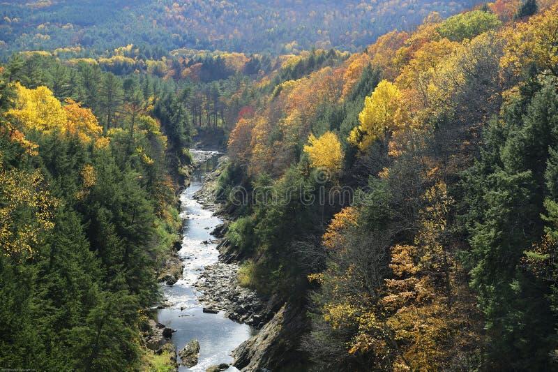 O rio de Ottauquechee corta completamente o desfiladeiro de Quechee no outono imagens de stock royalty free
