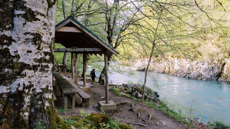 O rio defluxo frio é ficado situado nas montanhas de Montenegro A água no rio está limpa que olhares como a água do oceano foto de stock
