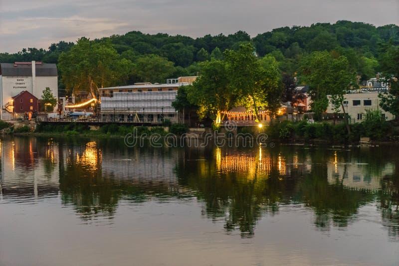 O Rio Delaware no verão da esperança nova histórica, PA foto de stock royalty free