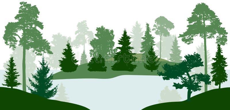 O rio do lago corre através da floresta, silhueta, vetor ilustração stock
