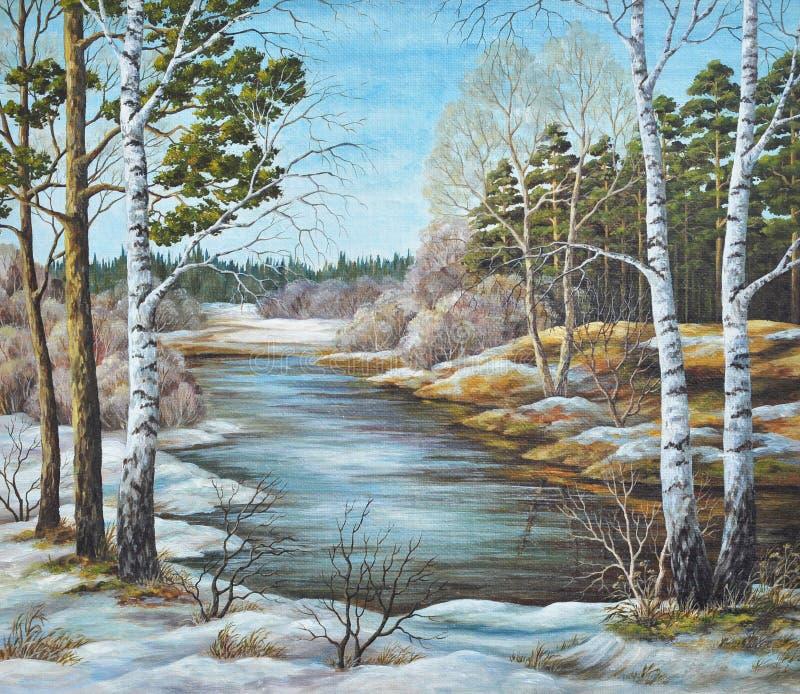 O rio do Siberian da mola ilustração do vetor