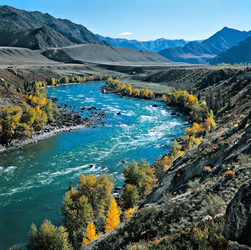O rio nas montanhas imagens de stock