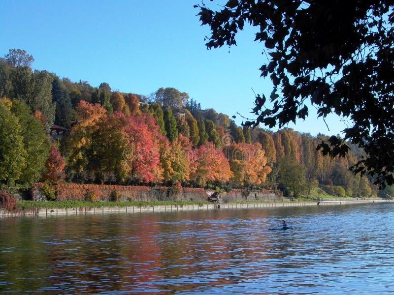 O Rio Pó, Turin, Itália imagens de stock