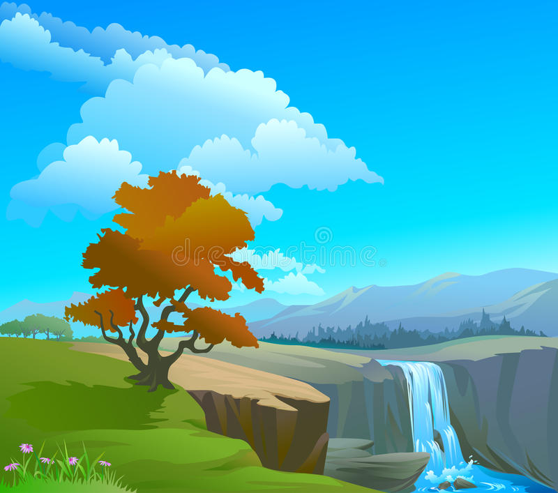 O rio, a queda, os montes e as rochas ajardinam ilustração royalty free
