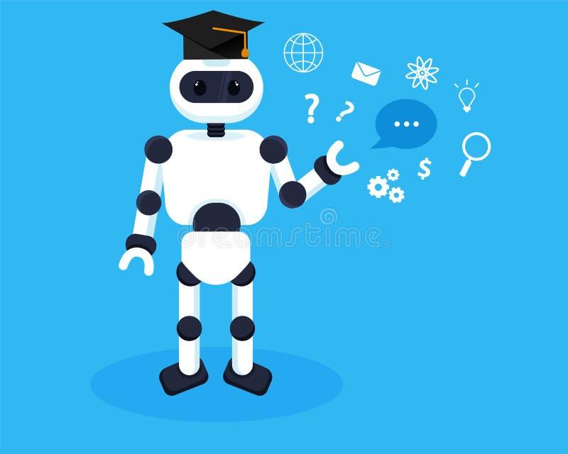 O robô aprende a informação nova Conceito da ilustração da aprendizagem de máquina Os robôs recolhem o conhecimento ilustração do vetor