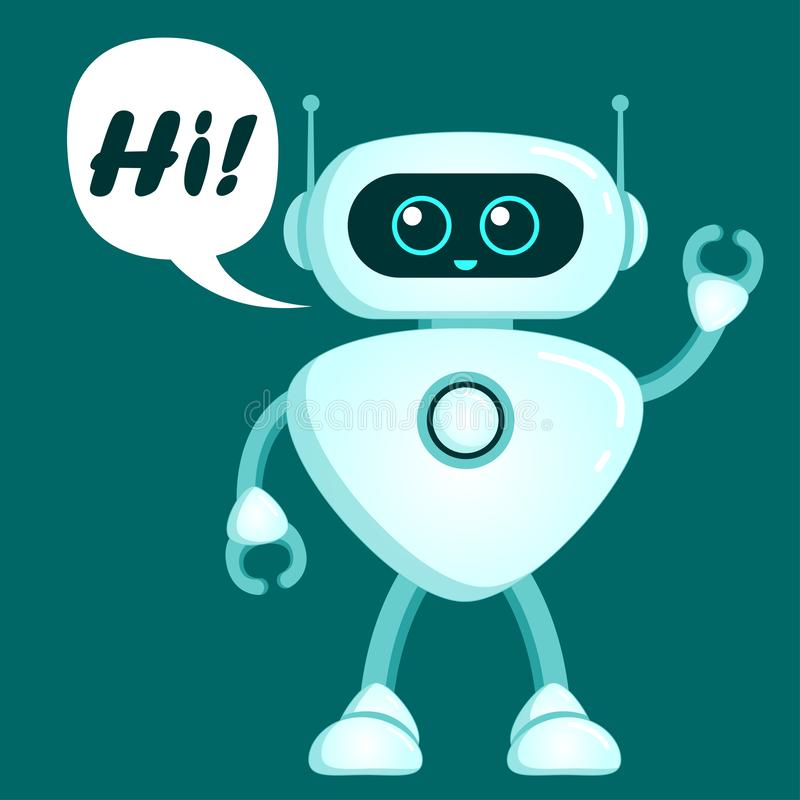 O robô bonito diz olá! Ícone de Chatbot ilustração stock
