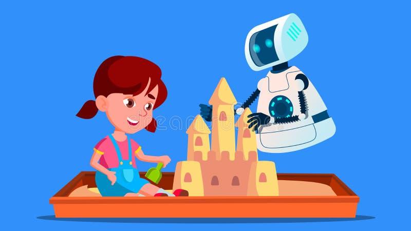 O robô constrói um castelo da areia com a criança pequena no vetor da caixa de areia Ilustração isolada ilustração royalty free