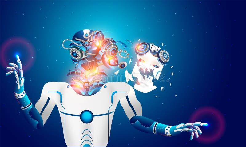 O robô da rendição desmontou-se, cérebro do Ai falha o oe sobrecarregado ilustração stock