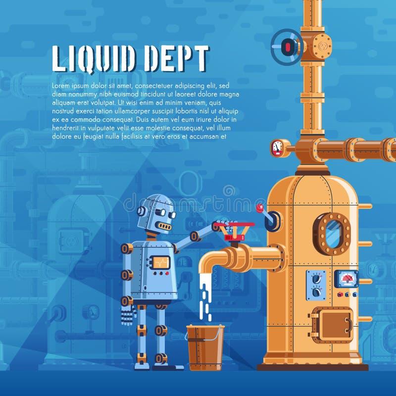 O robô derrama o líquido de um reservatório ilustração stock